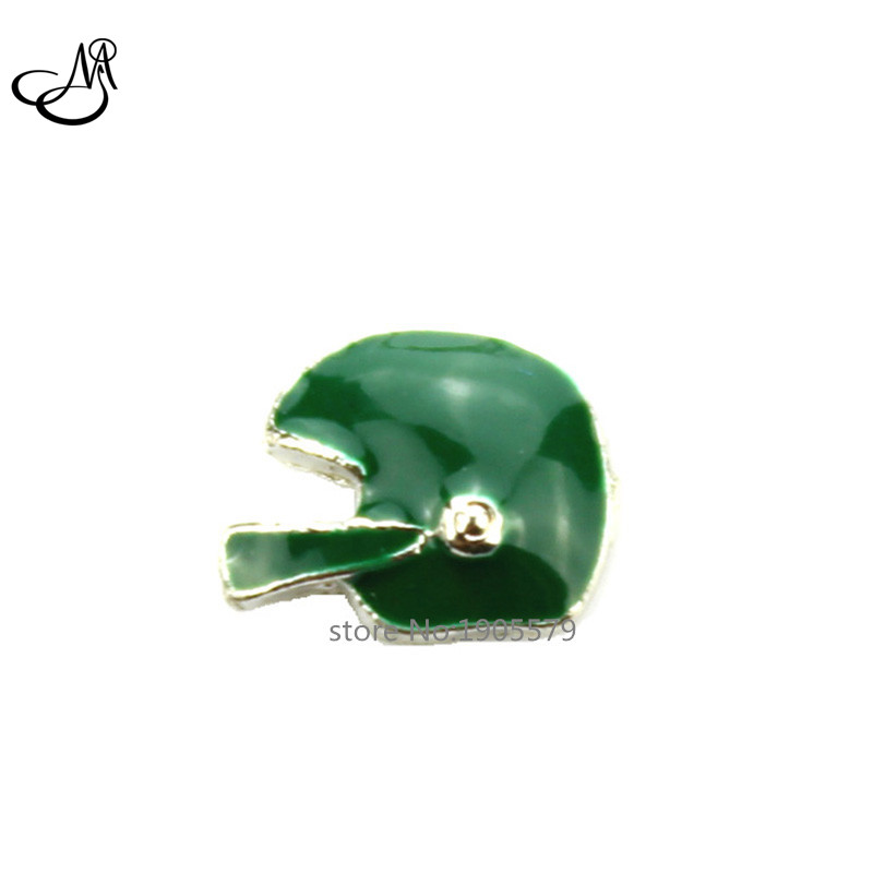 New Hot sale Green Enamel Football Helmet Floating Charms for glass locket! MFC2052