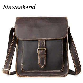 Men\'s Shoulder Bags Crossbody Messenger iPad Bag For Man Vintage Casual Genuine Leather Crazy Horse Square Hasp Zipper Male Gift - DISCOUNT ITEM  19 OFF Luggage & Bags