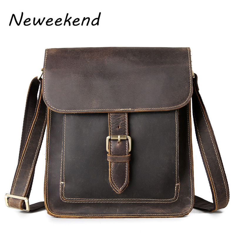 NEWEEKEND 5836 Vintage Casual Genuine Leather Crazy Horse Square Hasp Zipper Crossbody Messenger iPad Bag for Man neweekend 1005 vintage genuine leather crazy horse large 4 pockets camera crossbody briefcase handbag laptop ipad bag for man