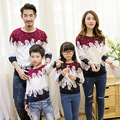 2016 winter family clothing Christmas Sweater Couples clothing Dad Mon Kids long sleeved sweater t-shirt family matching clothes