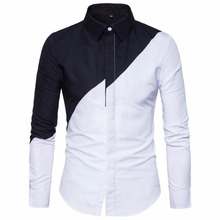 2018 Mens Cotton Black White Stitching Color Shirts Casual Slim Fit Fashion Man Lapel Large Size Long-sleeved Shirts Male S-2XL