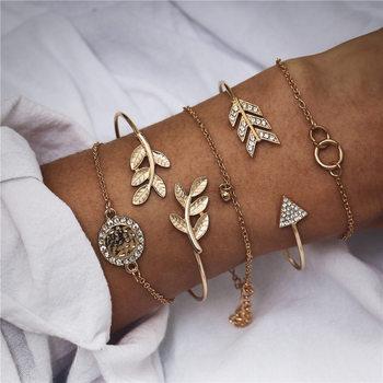 IF ME Bohemian Geometric Stone Bracelet Set for Women Vintage Rope Taseel Sequin Moon Map Elephant Heart Leaf Female Jewelry NEW 3