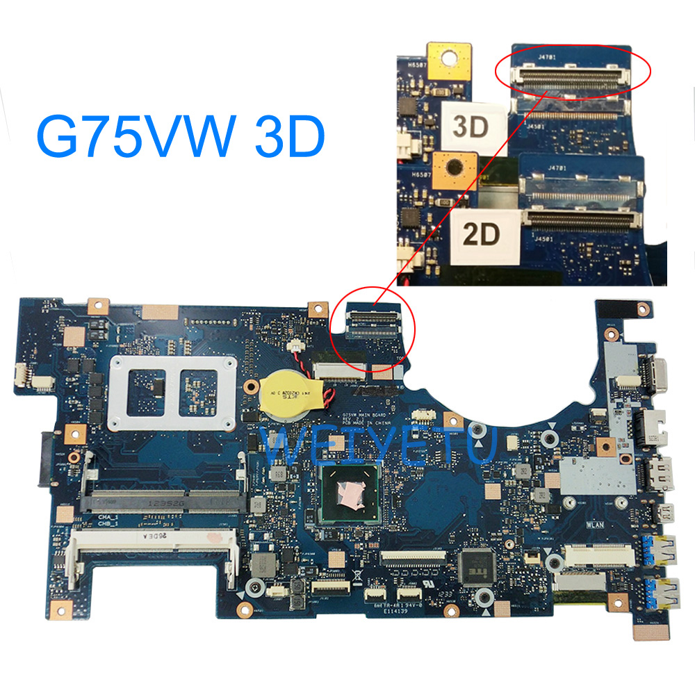 G75VW With 3D Connector Motherboard For ASUS G75V G75VW Laptop Mainboard 60-N2VMB1501B07 REV 2.1 100% Tested Working Well