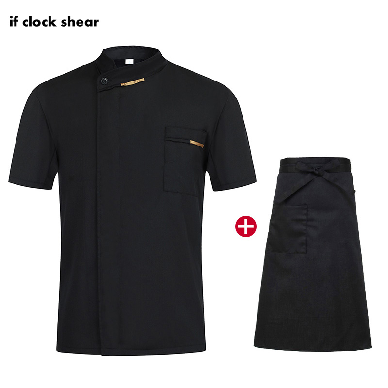 IF New Restaurant Work Uniforms Kitchen Bakery Catering Casual Soft Waitress Chef Jackets Apron M-4XL Summer Work Clothes Men
