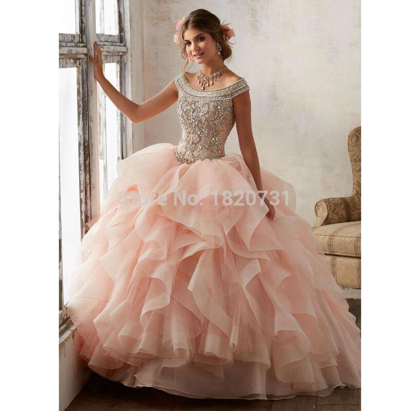 Quinceanera robe de bal à encolure dégagée robes de Quinceanera bleues 2019 robes de Debutante à paillettes perlées de luxe 15 ans