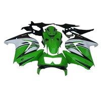 На заказ; Бесплатная АБС пластик Обтекатели для Кавасаки ниндзя 250R 2008 2010 2014 EX250 08 14 ZX 250R зеленого и белого цветов впрыск набор