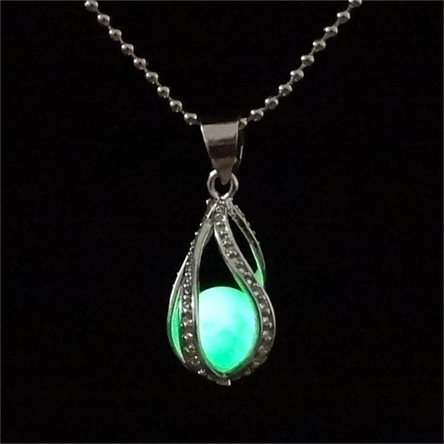 Steampunk Glow In the Dark Necklace Silver Plated with Luminous Stone Loket Pendant Choker Mermaid Necklace Jewelry for Unisex
