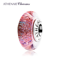 ATHENAIE Genuine Murano Glass 925 Silver Core Luminous Red Shimmer Charms Bead Fit All European Bracelets Color Red