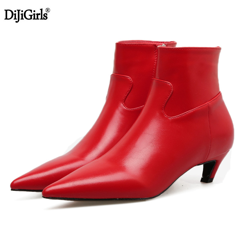 Womens Boots Fashion Low Heels Pointed Toe Ankle Boots For Women Kitten Heels Spring Elegant Ladies Short Booties Red Shoes new 2017 spring summer women shoes pointed toe high quality brand fashion womens flats ladies plus size 41 sweet flock t179