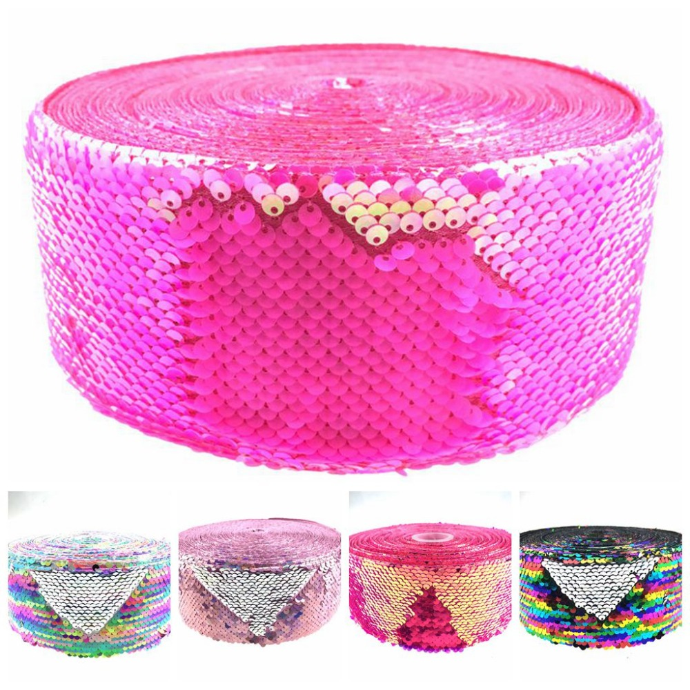 "3""75mm Double Color Reversible Sequin Ribbon Gold with Silver 50yards/roll Pink Hologram DIY Hair Bowknots Gift Packing"