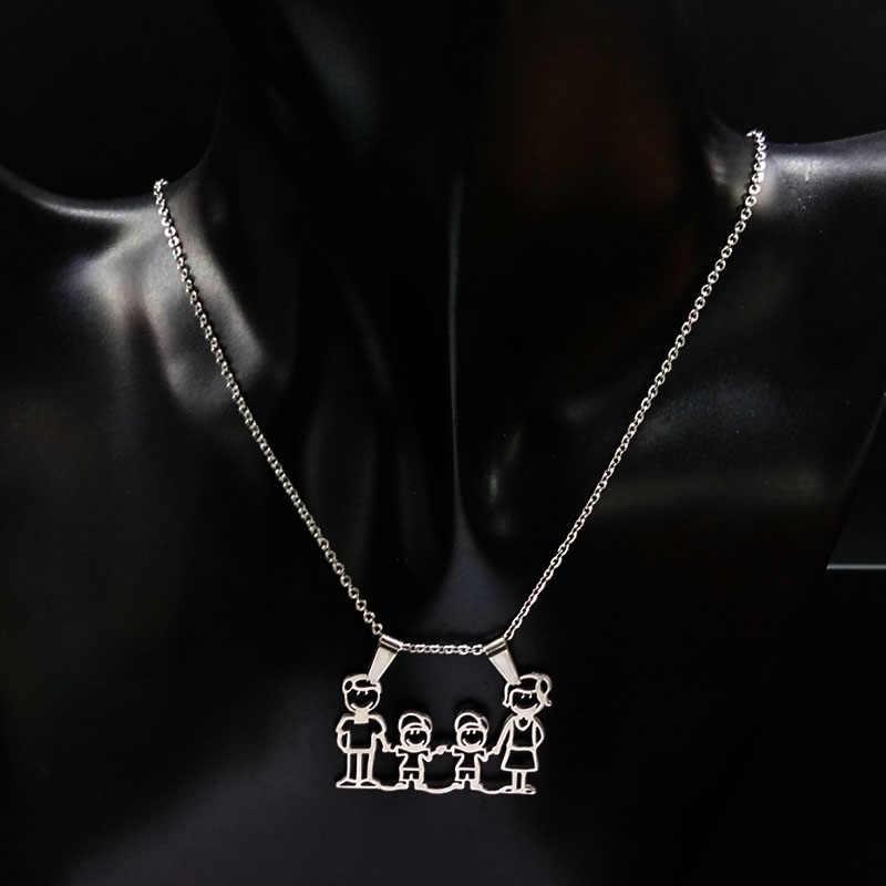 ステンレス鋼のネックレスママ家族ネックレスジュエリーシルバーカラー Love 少年少女のペンダントチョーカーネックレス女性のギフト N2201