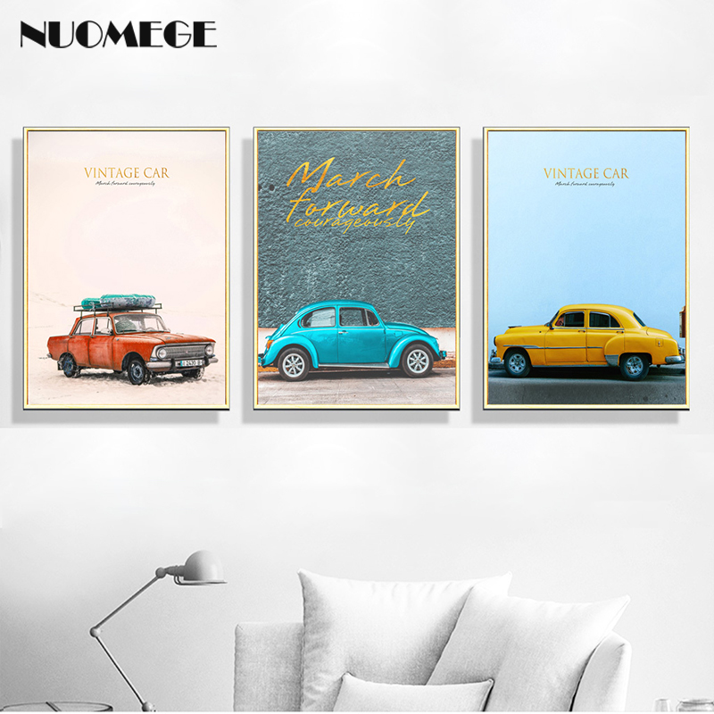 Nordic Style Car Canvas painting Wall Art Decorative Picture Retro Posters and Prints Wall Pictures for Living Room Home Decor