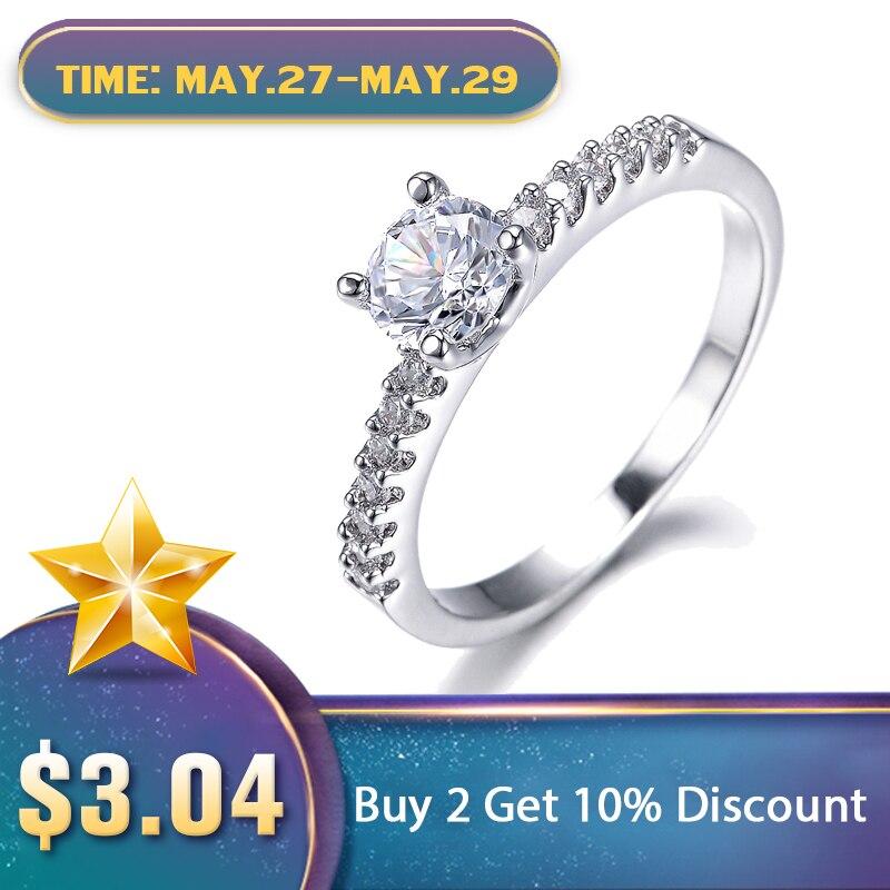 5580f8d501b6 UMODE Color oro blanco pavé anillo de compromiso para mujeres con 0