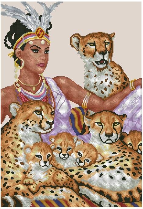 Counted Cross Stitch Kit Indian Lady Woman Girl Empress -3041