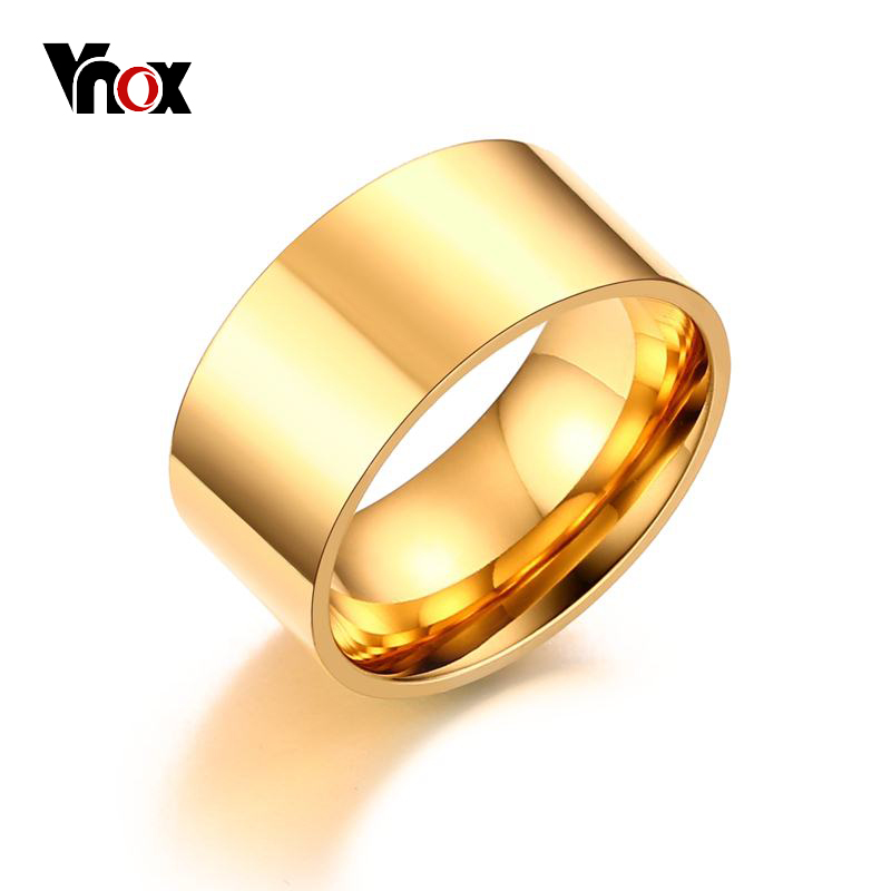 Vnox 10mm Classic Wide Chunky Ring for Men Rose Gold-Color Silver Color Stainless Steel Male Ring Alliance Wedding Jewelry