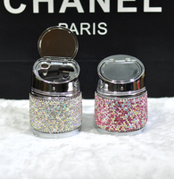 Luxury Crystal Car Ashtray With Cover Portable Car Ashtray Automobile Decoration
