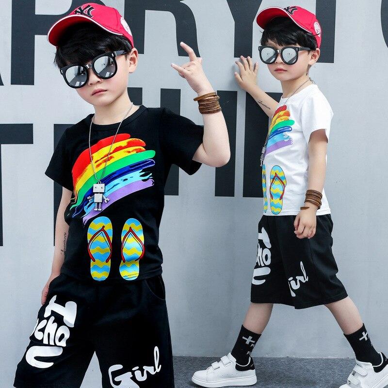 2018 детская одежда для мальчиков 2 4 5 на 6, 8, 10, 12 лет Спортивная одежда для детей 2 шт наборы Комплект одежды для маленьких мальчиков летний ком...