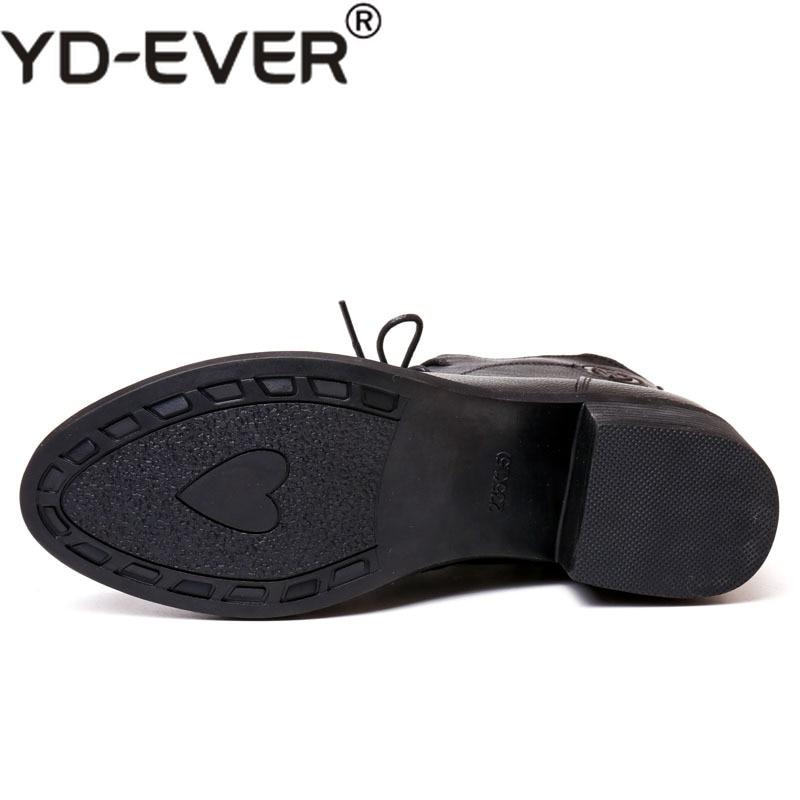 Talon Martin Zipper Noir Épais Chaussures Yd ever En Cuir Cheville Chaud Nouvelle Bottes Femmes Up Femme Hiver Lace Véritable ebED2IYWH9