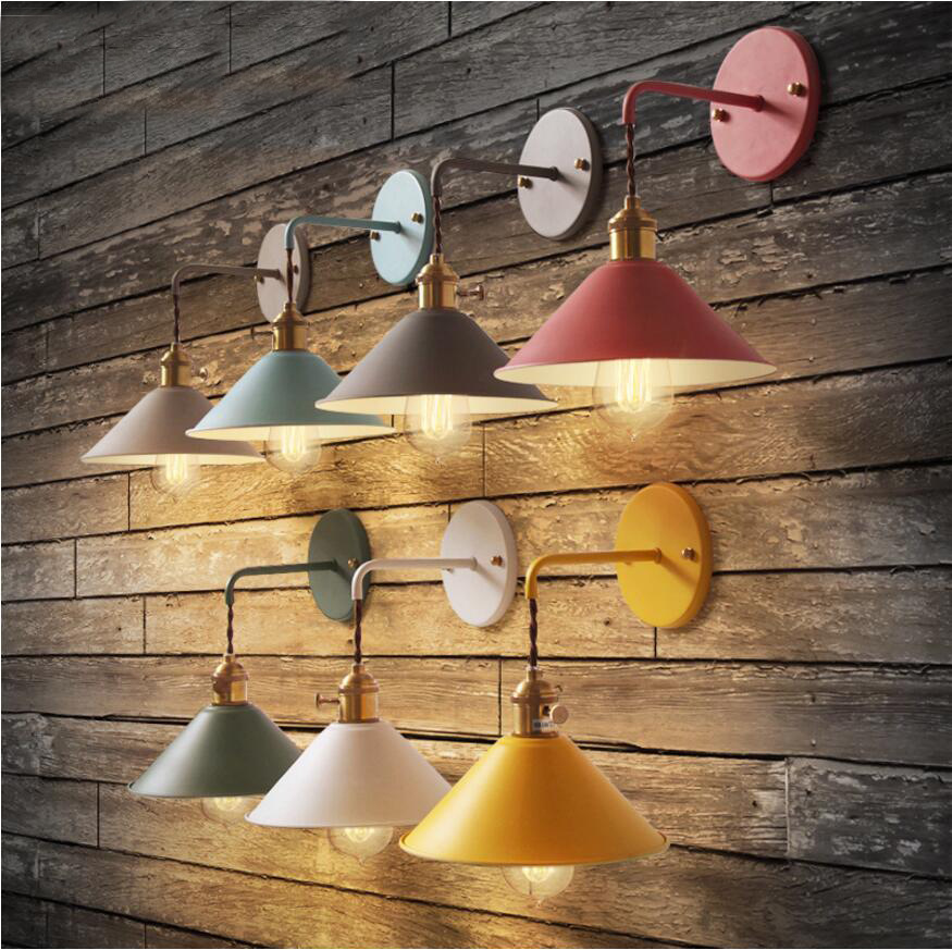 Nordic modern living room wall light stairway aisle bedroom bedside Macaron small black umbrella wall lamp E27 Socket Sconces цены