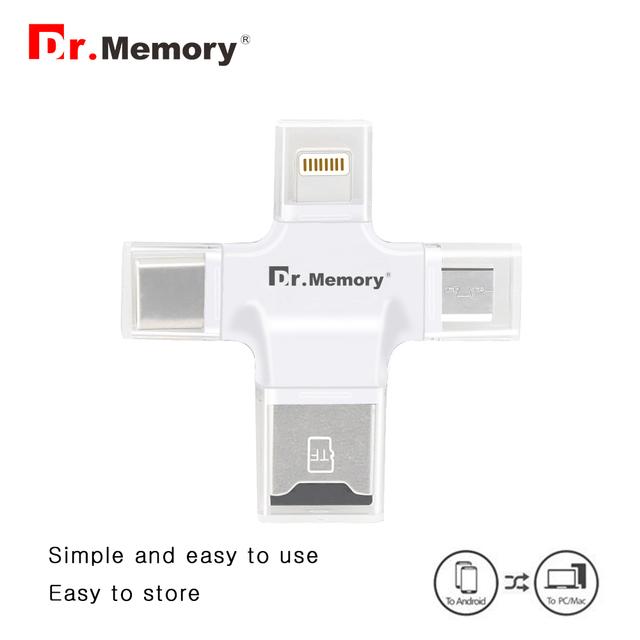 4 em 1 leitor de cartão de leitor de cartão para o iphone android micro usb para o tipo c-Dr. Memória leitor de cartão usb otg para pc de alta velocidade de leitura