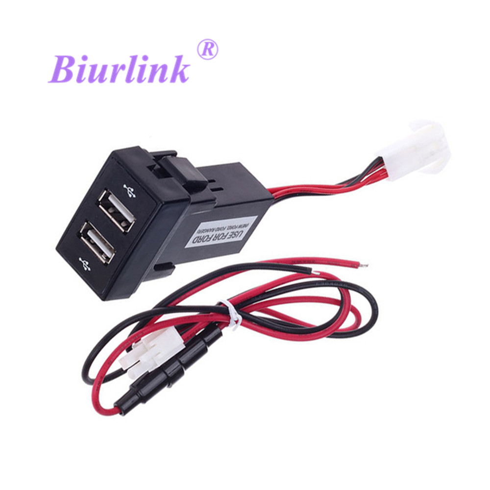Biurlink DIY Dual USB Port Charging Dashboard Mount Car Panel USB Charger For Ford For Phone Tablet PDA