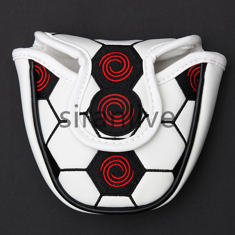New Customized Golf Mallet Putter Head Cover Headcover PU Leather White Skull Design Magnetic Closure Free Shipping