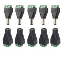 5,5mm x 2,1mm Weiblich Männlich DC Power Stecker Adapter für 5050 3528 5060 Einzigen Farbe LED Streifen und CCTV Kameras