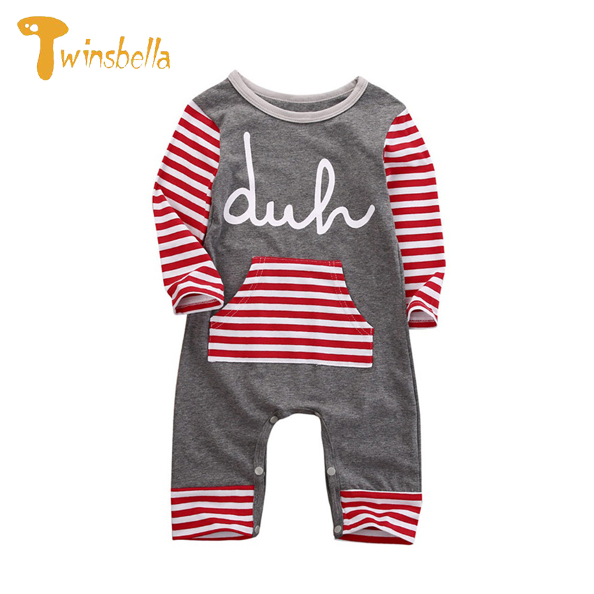 TWINSBELLA Baby Rompers Clothing Fashion Newborn Infant Bebe Boy Striped Christmas Baby Onesie Costume Romper With Pocket newborn baby rompers baby clothing 100% cotton infant jumpsuit ropa bebe long sleeve girl boys rompers costumes baby romper