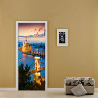 70x200cm 3D Door Stickers Twilight City Night Decorative Stickers Bedroom Living Room Door Background Wall Stickers