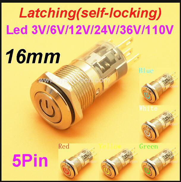 5 x Yellow On//Off Latching Push Button Switch Locking Car Dashboard Dash 12V