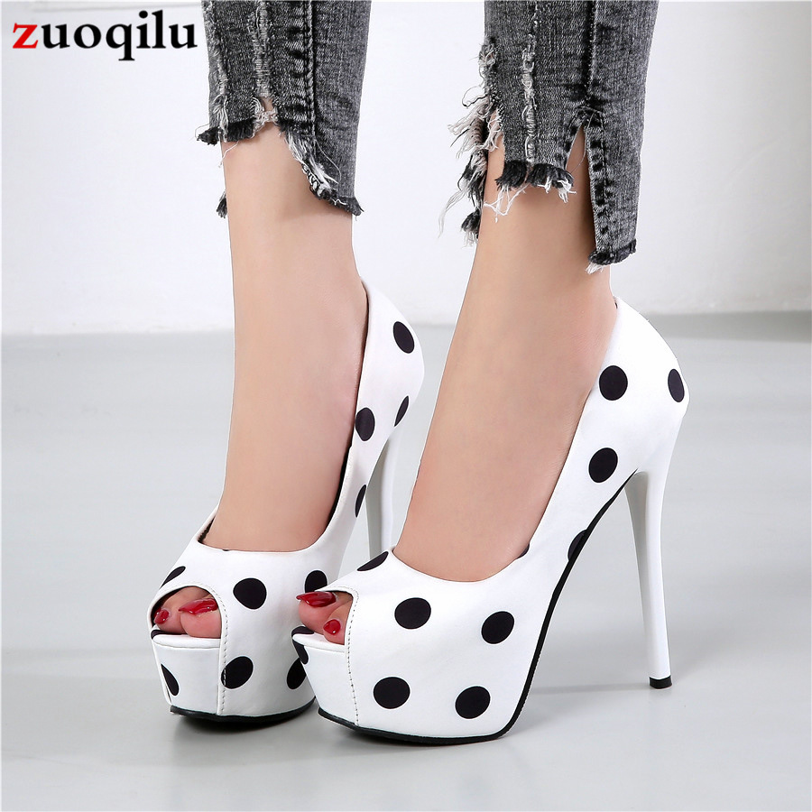Pumps Women Shoes Platform Heels Peep Toe Woman Shoes Ladies Office Shoes Women Wave Point Party Shoes White Heels For Wedding