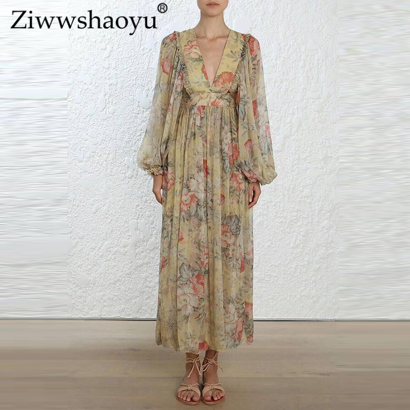 Ziwwshaoyu Seaside Vacation Silk dress Bohemian V-Neck Print Ruffles Puff Sleeve A-Line dress 2019 spring and summer new women