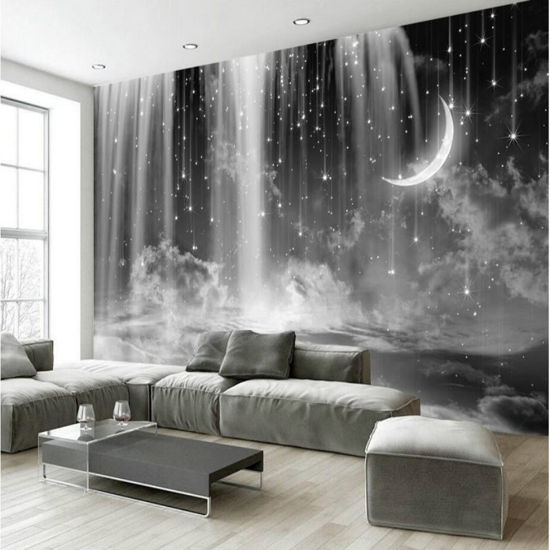 Custom 3d Wallpaper for Walls Home Improvement Silk Wallpapesr Black and White Waterfall Stars Background Wall gj washnis washnis productivity improvement handbook for st ate and local government
