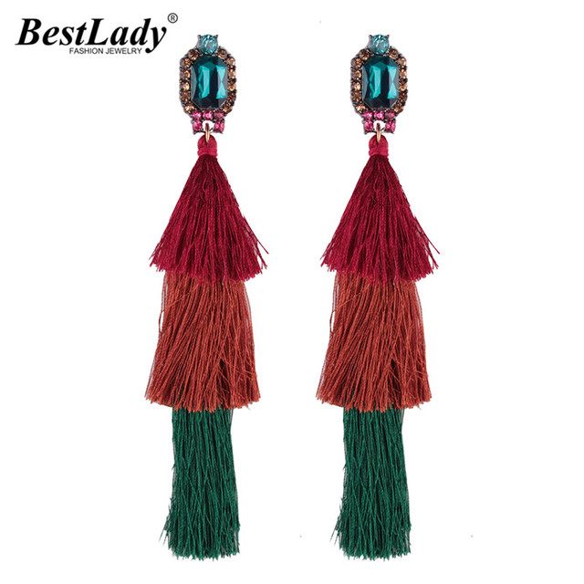 Long Faded Tassel Earrings
