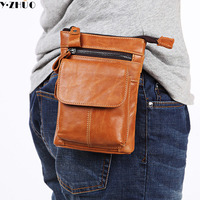 Y ZHUO cow leather mini men messenger bag small single shoulder bag business genuine leather men crossbody travel bags Unisex