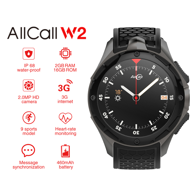AllCall W2 3G WCDMA Android 7.0 Quad Core Smart Watch 1.39'' HD Screen 2G 16G Memory GPS Wifi Heart Rate Bluetooth 4.0 Watches