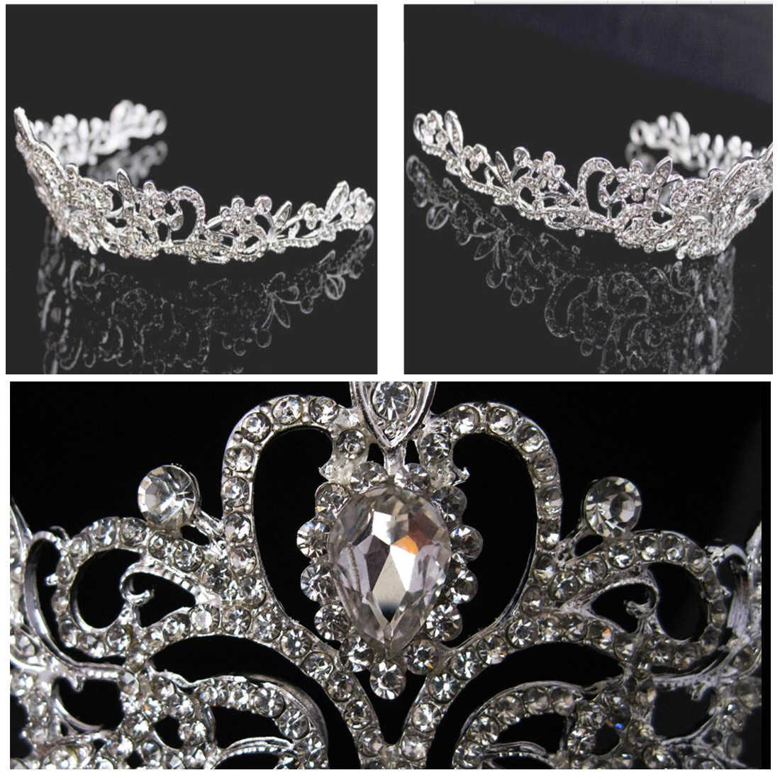 חדש עיצובים מדהים כסף קריסטל כלה נזר כתר כלה סרטי ראש נשים חתונת שיער תכשיטי אביזרי 1pcs