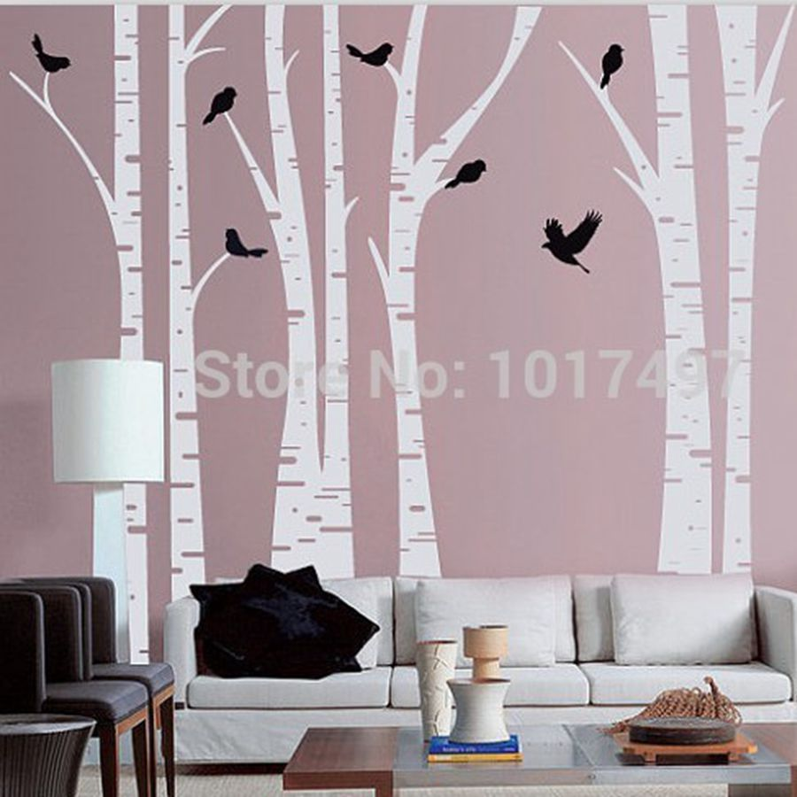 Large size white Birch Tree Wall Decal With Birds Art Vinyl Tree Wall Stickers home decor