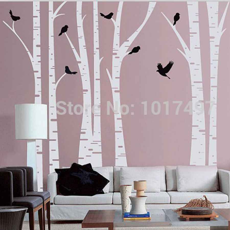 Amazon Com Birch Tree Wall Decal With Two 119 Brown Trees Baby