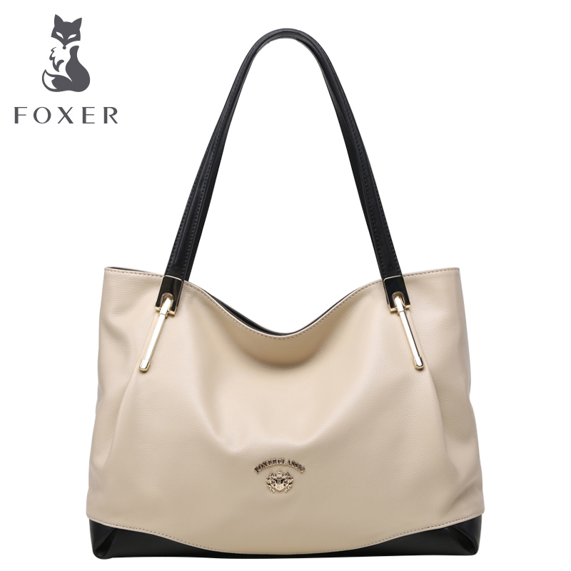 High Quality Foxer Genuine font b Leather b font Casual Tote Bag Portable Women Bags font