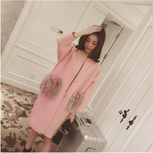 High quality new winter women pink gery long section woolen coat thicker three quanter sleeve women fur coat pocket