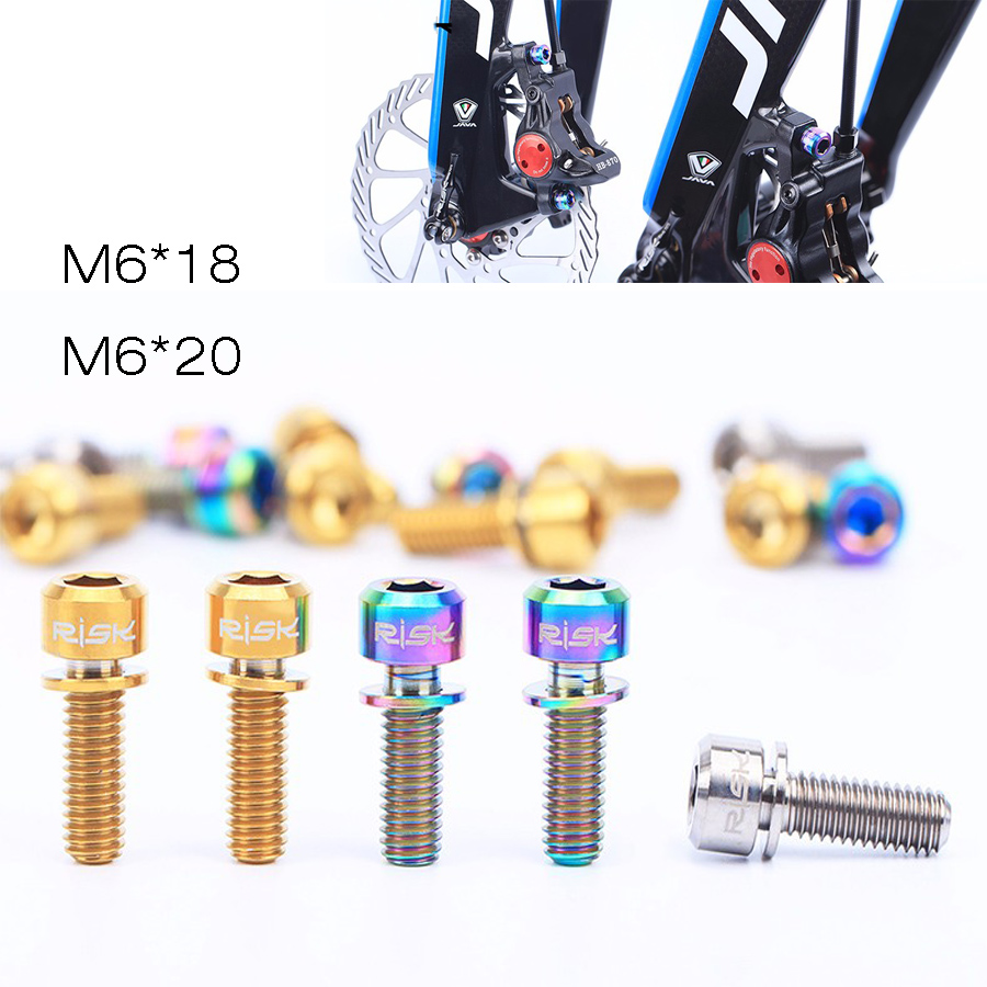 M6x18mm <font><b>M6x20mm</b></font> Screws Disc Brake Bolt Clamp <font><b>Titanium</b></font> Alloy Mountain Bike Bicycle Screw with Washer Gasket 4PCS/lot image