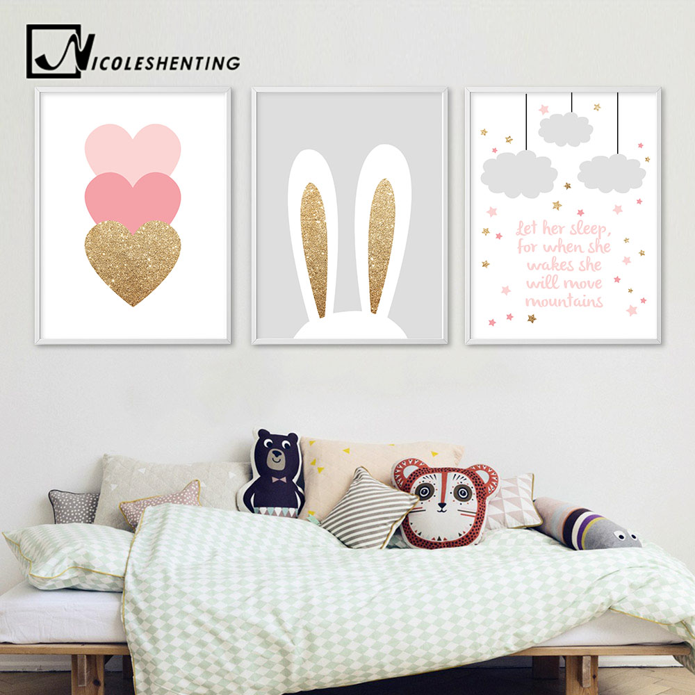 Cartoon Rabbit Pink Heart Wall Art Canvas Poster Nursery Quotes Print Nordic Painting Wall Picture Kids Living Room Decoration