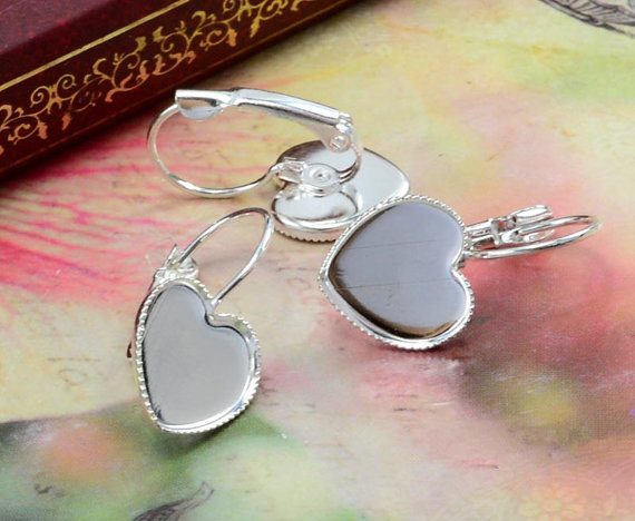 12mm 10pcs Silver Plated Heart French Lever Back Earrings Blank/Base,Fit 12mm Glass Cabochons,Buttons;Earring Bezels (L3-22) new 12mm 10pcs lot 14 colors plated french lever back earrings blank base fit 12mm glass cabochons buttons earring bezels
