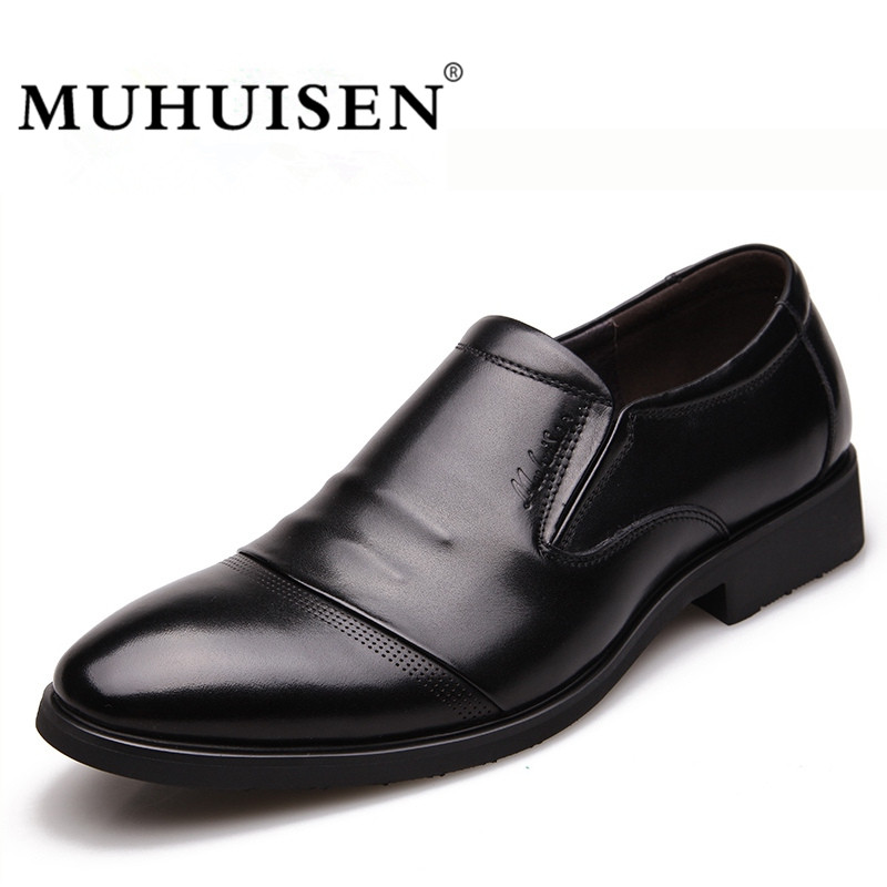 MUHUISEN Fashion Men Business Dress Shoes New Classic in vera pelle - Scarpe da uomo