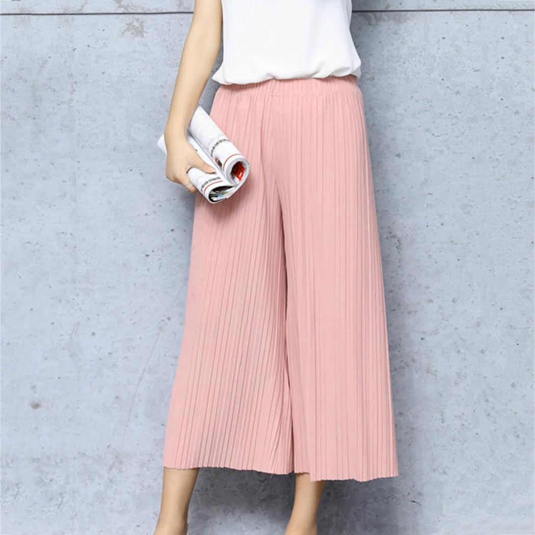 Korean Style 2018 Hot Summer Wrinkle High Waist   Pants   Bell Bottom Thin Wide Legs Range Chiffon Loose   Pants   Sexy   Capris   Female