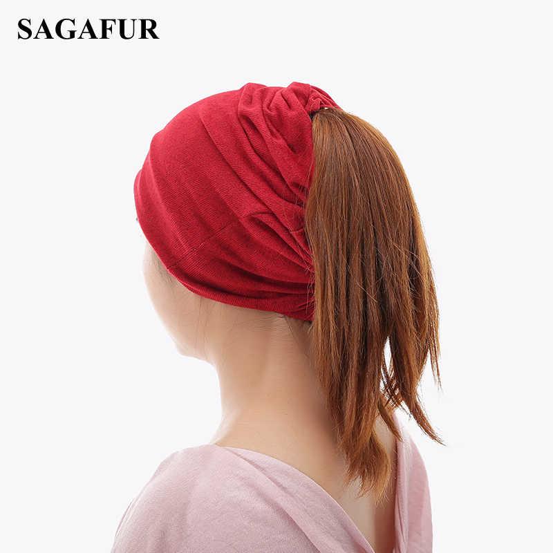 Çok fonksiyonlu örme şapka kadın rahat düz kaput kap kadın yumuşak Polyester Baggy Beanies bahar sonbahar at kuyruğu Beanies