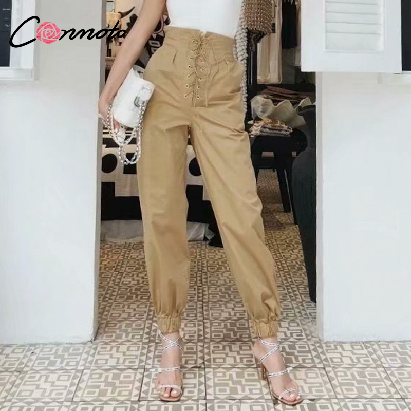 Conmoto Solid Harajuku Harem   Pants   Women Trousers Loose Casual White Cargo   Pants   High Waist   Pants     Capris
