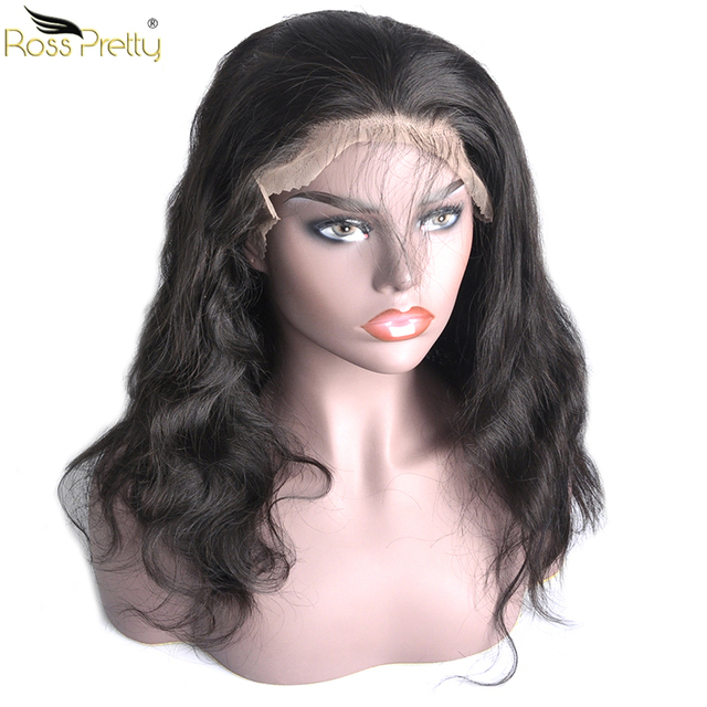 Ross Pretty Remy Peruvian Body Wave Human Hair Wigs Baby Hair and Pre Plucked Hair lace front human hair wigs Density 150%
