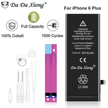 Da Da Xiong 100% Original Phone Battery For iPhone 6 Plus Real Capacity 2915mAh With Machine Tools Kit Battery Sticker 0 Cycle стоимость